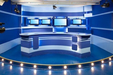 interior of television studio ready for work