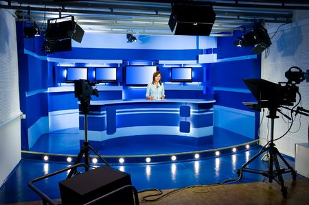 recording studio: recording at TV studio with television anchorwoman