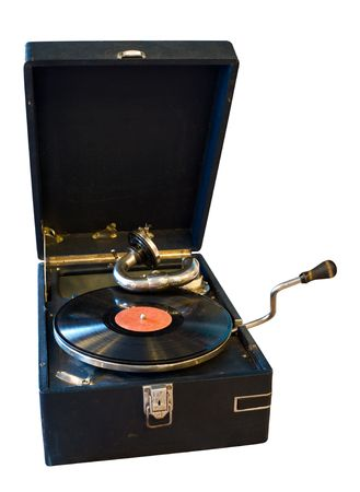 vintage black gramophone with vinyl record isolated on white background photo
