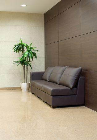 brown leather sofa: divano in pelle marrone e palme a riposo in sala interna  Archivio Fotografico