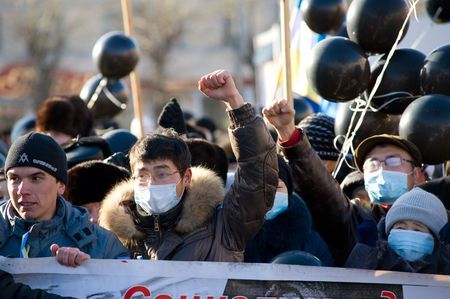 intolerance: ULAN-UDE, RUSSIA - NOVEMBER 1: Townspeople protest against a number of murders in Moscow because of racial intolerance, November 1, 2009, Ulan-Ude, Buryatia, Russia.