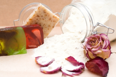 handicrafts: glass jar of powdered goat milk with natural components for bathing and handicraft soap, shallow DOF