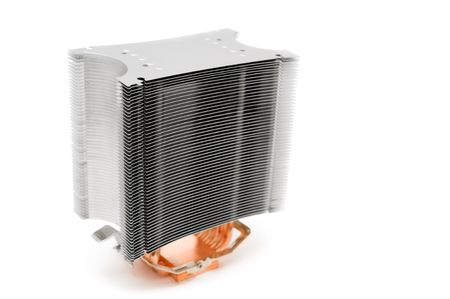 lamellar: powerful lamellar (multi ribbed) cooler for computer central processor unit over white background, shallow DOF, focus on the ribs