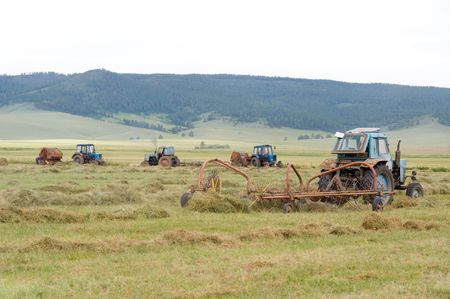 tractors are harvesting dried up hay in the field photo