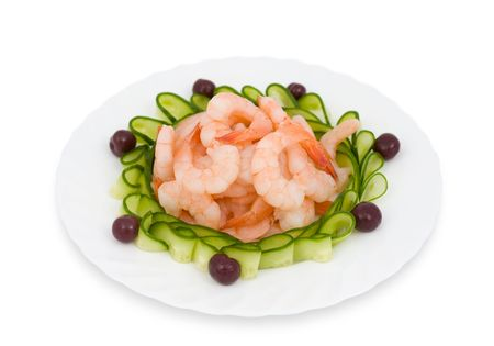 Chinese food. Shrimps decorated with sliced cucumbers and cherries. Stock Photo - 6595750