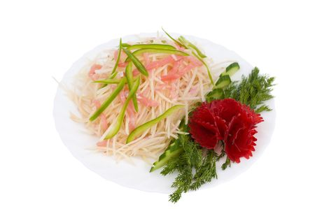 Chinese food. Salad of raw shredded potato, meat and green paprika, decorated with beet flower and dill. Isolated on white. photo