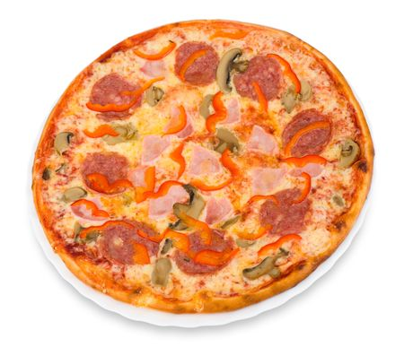 pizza with bacon, peperoni and mushrooms photo