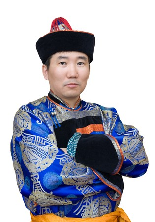 a buryat (mongolian) man in a national costume photo