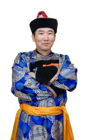 mongolian: a buryat (mongolian) man in a national costume