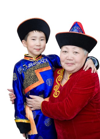 buryat (mongolian) grandmother and grandson, in national costumes photo