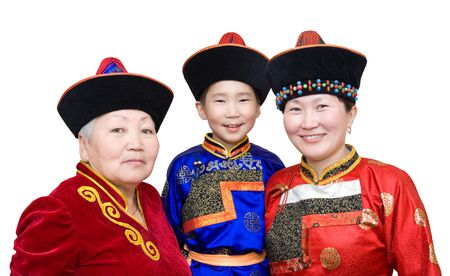 daughter in law: buryat (mongolian) family: grandmother, daughter in law and grandson, in national costumes