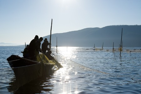commercial fisheries: fishermen on a boat haul a seine Stock Photo