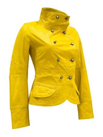 double breasted: una chaqueta de cuero color amarillo de confecciones de mujer