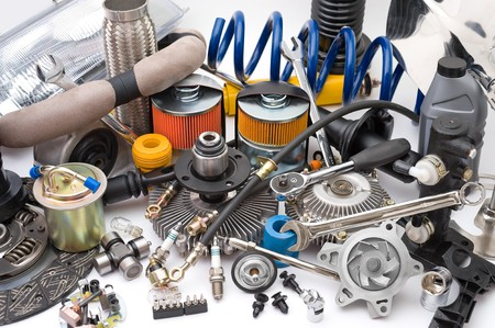 electric automobile: a lot of different auto spare parts Stock Photo