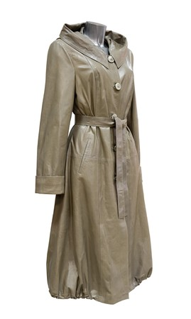 a leather olive green womens balloon coat, isolated photo
