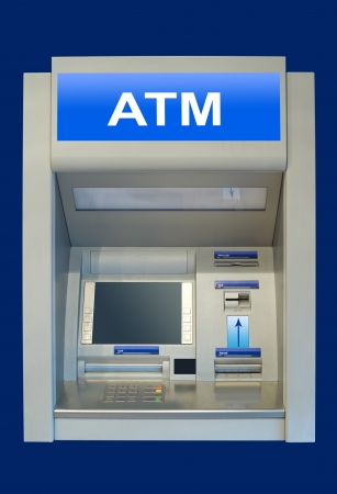 an automatic cash terminal, isolated over deep blue Stock Photo