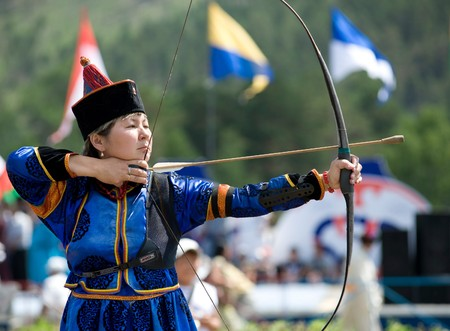 bowman: ULAN-UDE, RUSSIA - JULY 17: The 4th General Session of the World Mongolians Convention, July 17, 2010 in Ulan-Ude, Buryatia, Russia. Mongolian archery competition.
