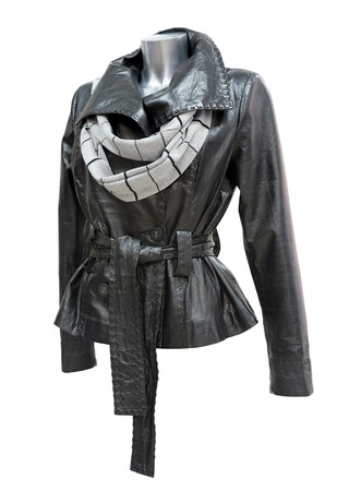 a black leather ladies jacket with a scarf photo