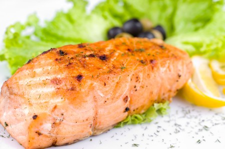 a big piece of grilled salmon, macro photo
