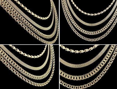 thick: gold chain necklaces over black background, set of four shots