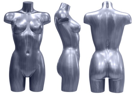 a striped female mannequin, set of three angles Stock Photo - 7923868