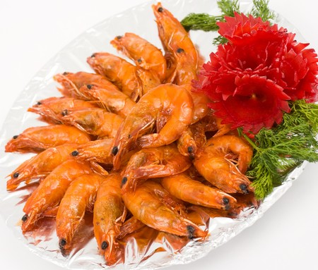 Chinese food. Deep fried shrimps in sour sweet sauce. Stock Photo - 7923928
