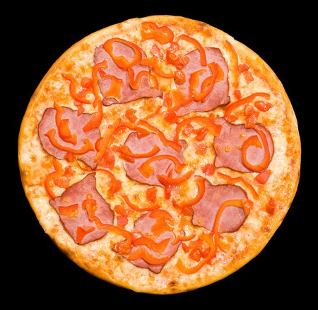 a pizza with meat and paprika photo