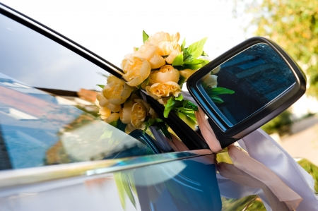 wedding car decoration - bunch of artificial roses