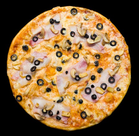 pizza with bacon, mushrooms and black olives, isolated,  photo