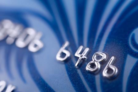 cashless: a blue bank card, macro, narrow focus Stock Photo