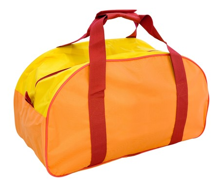 an orange nylon sports bag, isolated,