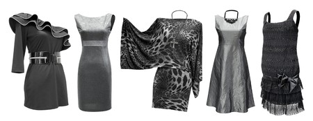 black and grey dresses for women in one set, isolated photo