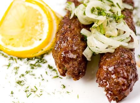 mutton chops: minced mutton chops fried on skewers, macro