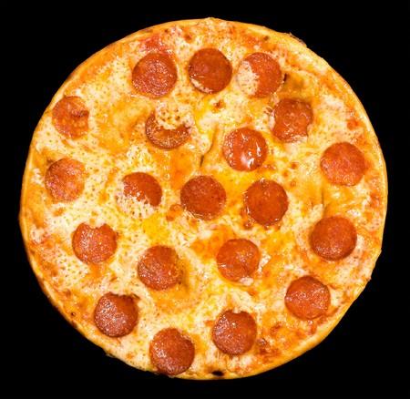 pizza: Pizza con salchich�n y queso