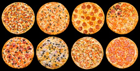 eight different pizzas in one set, isolated on black, top view