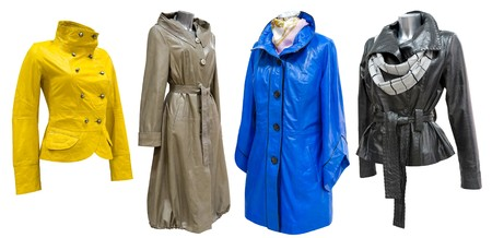 four leather ladies coats in a set, isolated photo