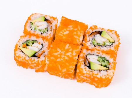 a pack of sushi rolls california with orange roe Stock Photo - 8147969
