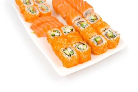 salmon sushi and california and philadelphia rolls photo