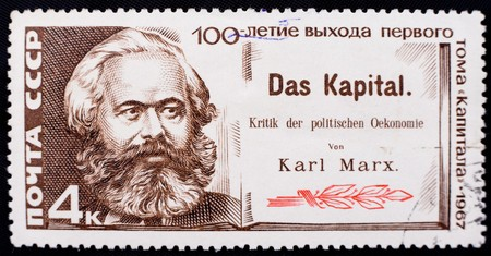 gravure: USSR - CIRCA 1967: A stamp is dedicated to the 100th anniversary of the edition of  Kapital by Karl Marx, circa 1967 Stock Photo