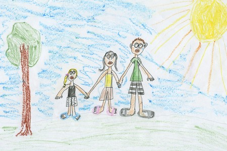 a childs drawing of a family, pastel Stock Photo