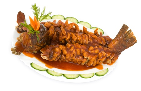 starch: Chinese food. Deep fried carp in sour sweet sauce, previously rolled in starch.
