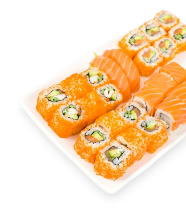salmon sushi and california and philadelphia rolls, clipping path photo