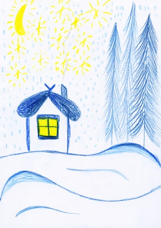 a childs scanned drawing - a house in winter forest photo