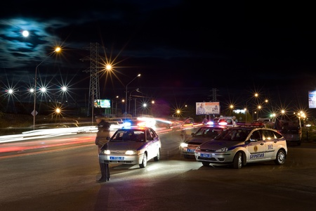 buryatia: ULAN-UDE, RUSSIA - SEPTEMBER 5: A traffic police patrol is on duty on City Day, September, 5, 2009, Ulan-Ude, Buryatia, Russia.