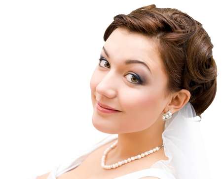 young charming bride looks into camera, isolated, closeup photo