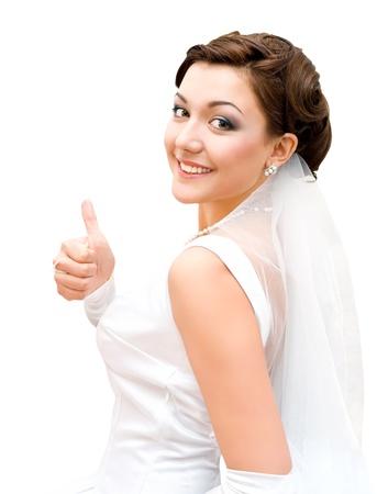 jonge charmante bruid kijkt naar camera, geïsoleerd
