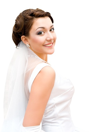 young charming bride looks into camera, isolated Stock Photo