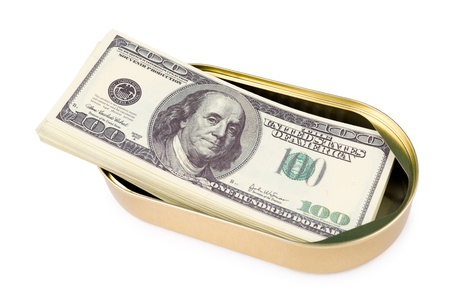 batch of dollars: a batch of US 100 dollars bills in an oval can Stock Photo