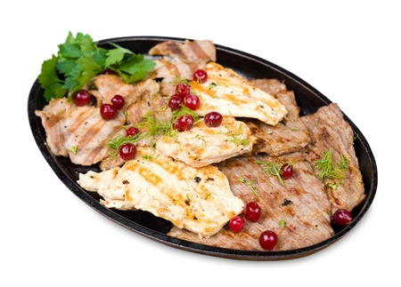 grilled chicken, beef and pork chops with cranberries Stock Photo - 8663758