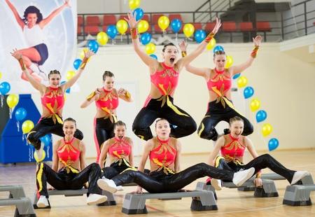 ULAN-UDE, RUSSIA - MAY 2: The Festival of aerobics and fitness, May 2, 2010 in Ulan-Ude, Buryatia, Russia.